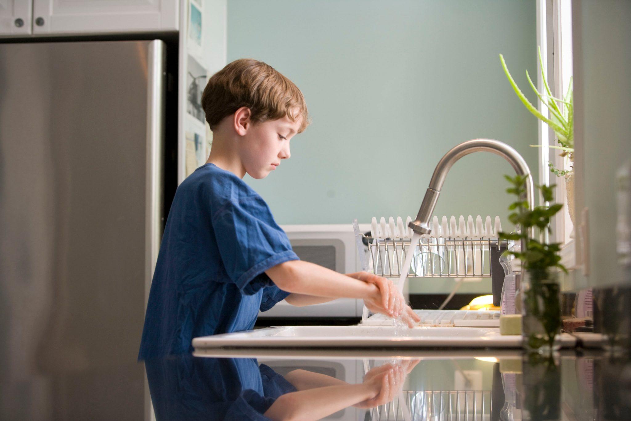 covid-19 boy washing hands